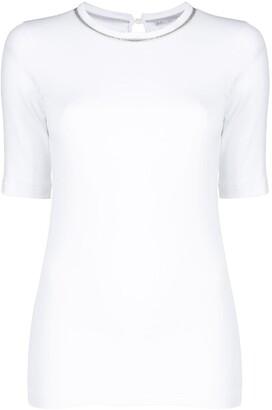 Brunello Cucinelli beaded-neck short-sleeved top