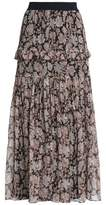 Zimmermann Ruffle-Trimmed Floral-Print Silk-Chiffon Midi Skirt