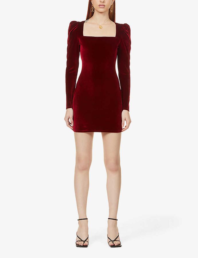 Reformation Lunar square-neck puff-sleeved velvet mini dress