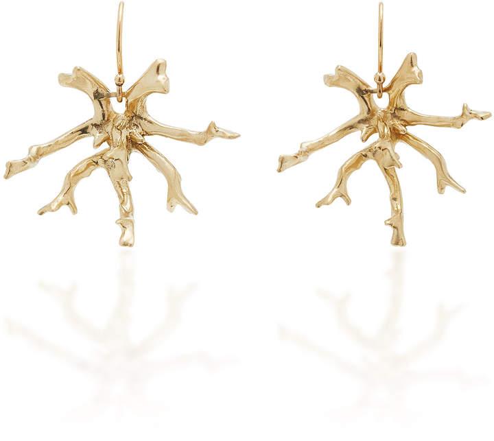 Annette Ferdinandsen Coral Stick Cluster 14K Gold Earrings