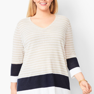 Talbots Blocked-Stripe Linen Sweater