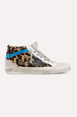 Golden Goose Mid Star Distressed Leopard-print Calf Hair, Leather And Suede Sneakers - Leopard print