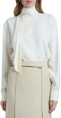 Victoria Beckham Scarf Neck Long-Sleeve Blouse