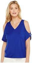 Ellen Tracy V-Neck Cold Shoulder Top Women's Clothing
