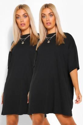 boohoo Plus 2 pack T-Shirt Dress