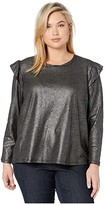 MICHAEL Michael Kors Plus Size Foil Linen Long Sleeve Ruffle Top (Black/Silver) Women's Clothing