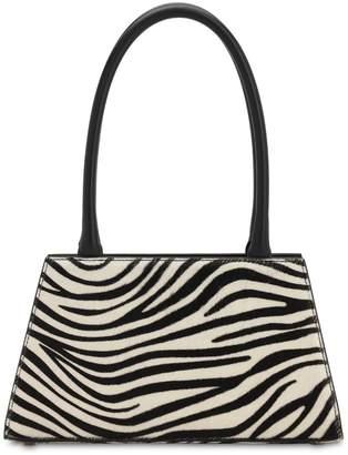 Rixo Dora Zebra Print Leather Top Handle Bag