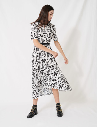 Maje Motif dress with inlaid waistband
