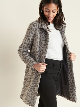 Old Navy Relaxed Soft-Brushed Leopard-Print Coat for Women