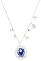 Meira T 14K white Gold, Blue Sapphire & 0.35 Total Ct. Diamond Necklace