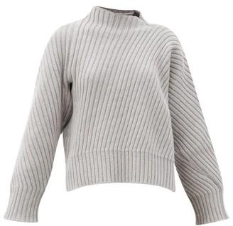 Jil Sander Abstract Ribbed Wool Sweater - Light Grey