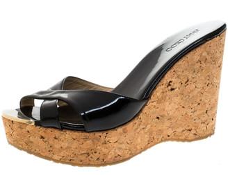 Jimmy Choo Black Patent Leather Prima Cork Wedge Slides Size 40