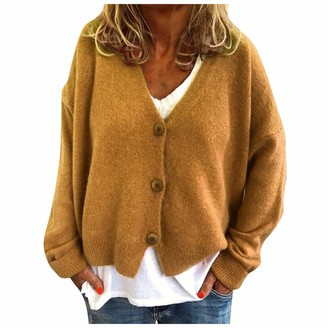 BUKINIE Womens Casual Long Sleeve Open Front Buttons Cable Knit Pocket Sweater Cardigan Jackets Plus Size(Yellow Large)