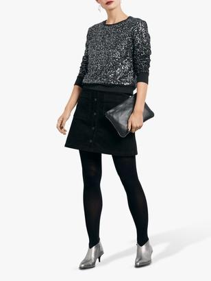 Hush Corduroy A-Line Mini Skirt, Black