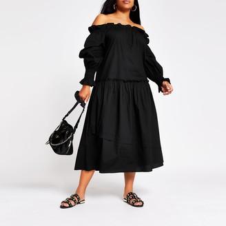 River Island Womens Plus Black long sleeve bardot maxi dress