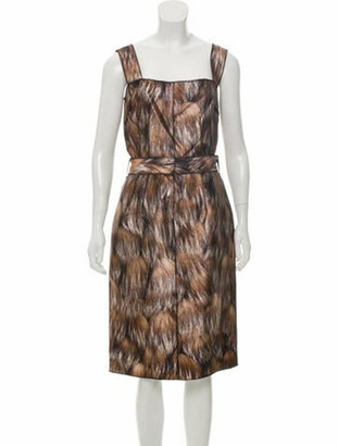 Dolce & Gabbana Printed Silk Dress w/ Tags Brown