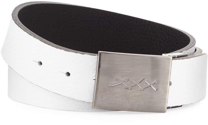 Ermenegildo Zegna Men's XXX-Plaque Leather Belt