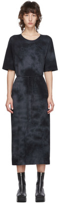Raquel Allegra Black Tie-Dye Belted T-Shirt Dress