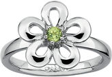 JCPenney FINE JEWELRY Personally Stackable Genuine Peridot Sterling Silver Flower Stackable Ring