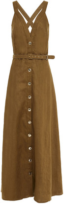 Nicholas Yasmine Belted Linen Maxi Dress