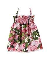 Dolce & Gabbana Sleeveless Poplin Rose Sundress, Pink, Size 12-36 Months