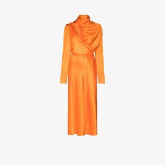 MATÉRIEL Drape Silk Midi Dress