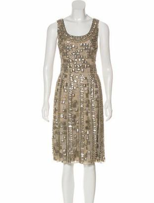 Oscar de la Renta Embellished Silk Dress Tan