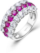 Lafonn Platinum Plated Sterling Silver Pave Simulated Diamond & Lab-Grown Ruby Wide Ring