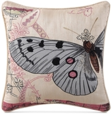 "Tracy Porter Franny Embroidered Butterfly Faux Silk 16"" Square Decorative Pillow"