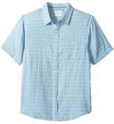 True Grit Indigo Surf Plaid One-Pocket Short Sleeve Shirt Double Light Combed Cotton Men's Clothing