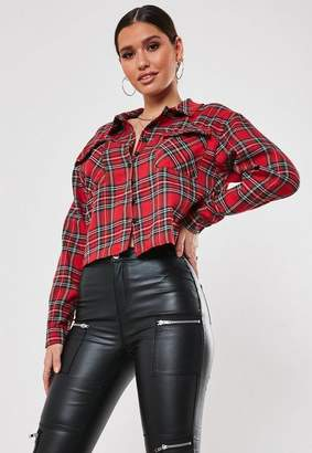 Missguided Petite Red Oversized Plaid Crop Top