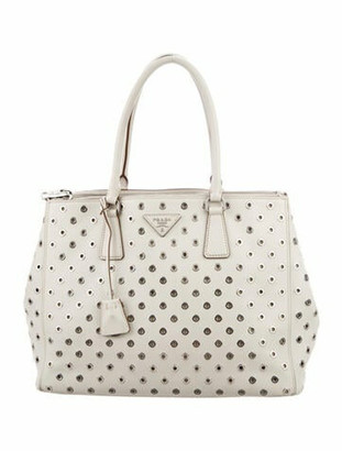 Prada Grommet-Embellished City Calf Medium Double Zip Tote silver