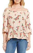 Democracy Floral Print Off-the-Shoulder 3/4 Raglan Sleeve Top