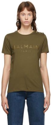 Balmain Khaki Three-Button T-Shirt