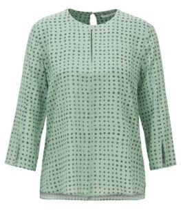 HUGO BOSS Slit-front top in pure silk with dot print