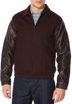 Perry Ellis Mixed Media Bomber Jacket