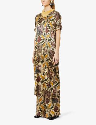 UMA WANG Amber abstract-print stretch-silk midi dress