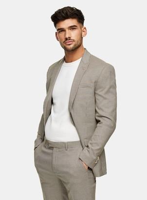 Topman Brown Houndstooth Slim Single Breasted Suit Blazer With Peak Lapels