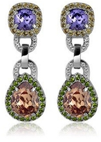 A-Z Collection Purple & Orange Clip-On Earrings