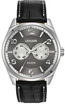 Citizen Watch Men's Quartz Watch with Grey Dial Analogue Display and Black Leather Strap AO9020-17H