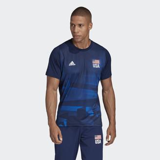 adidas USA Volleyball Primeblue Replica Tee Team Navy L Mens ...