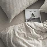 Washed Cotton Chambray Duvet Quilt Cover Stripe to Solid Reversible Casual Modern Style Pinstripe Bedding Set Relaxed Soft Feel Natural Wrinkled Look (Queen, Sand)