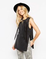Asos Festival Tunic Top In Acid Wash With Studs And Fringing