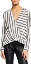 Splendid Silk Striped Surplice Blouse