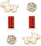 Vera Bradley Gold-Tone Loyal Friend Stud Earrings Set of 3