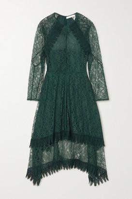 See by Chloe Asymmetric Metallic Lace Midi Dress - Dark green