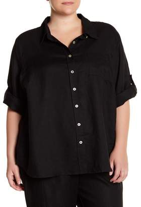 Allen Allen 3/4 Sleeve Linen Shirt (Plus Size)