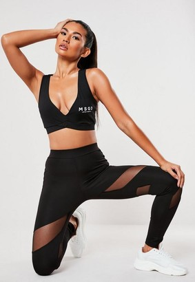 Missguided Black Msgd Insert Mesh Cut Out Gym Leggings