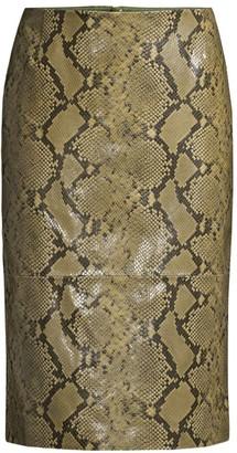 Lafayette 148 New York Casey Stretch Snake-Print Pencil Skirt