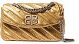 Balenciaga Bb Round Small Embroidered Metallic Textured-leather Shoulder Bag